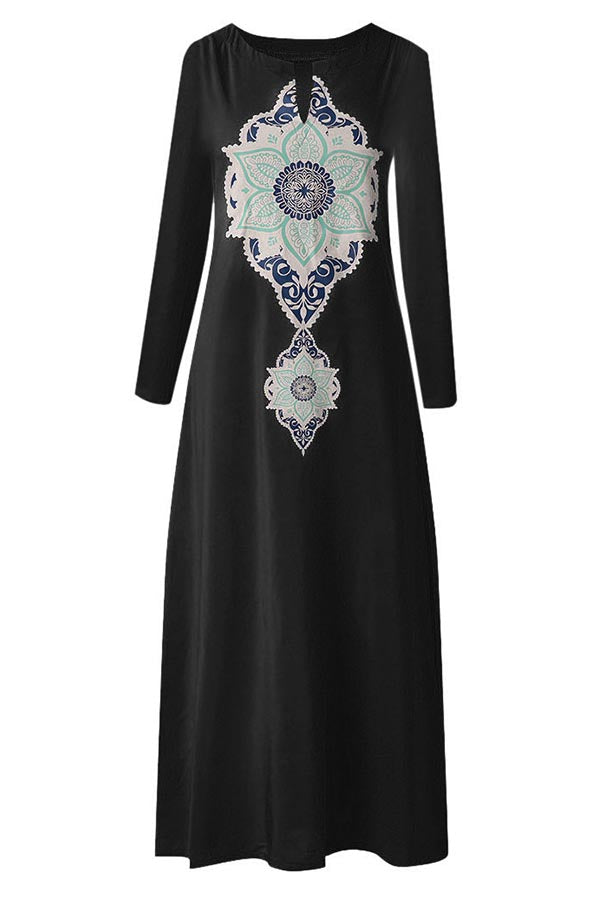 Vintage Graphic Print V-neck Long Sleeves Maxi Dress
