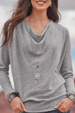 Solid Pile Neck Long Sleeves Casual Blouse