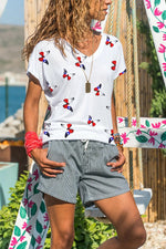 Casual Butterfly Print Paneled V-neck Short Sleeves T-shirt
