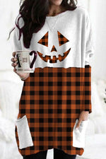 Halloween Skull Pumpkin Face Bat Paneled Striped Plaid Print Color-block T-shirt