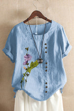 Paneled Floral Print Buttons Down Vintage Short Sleeves Blouse