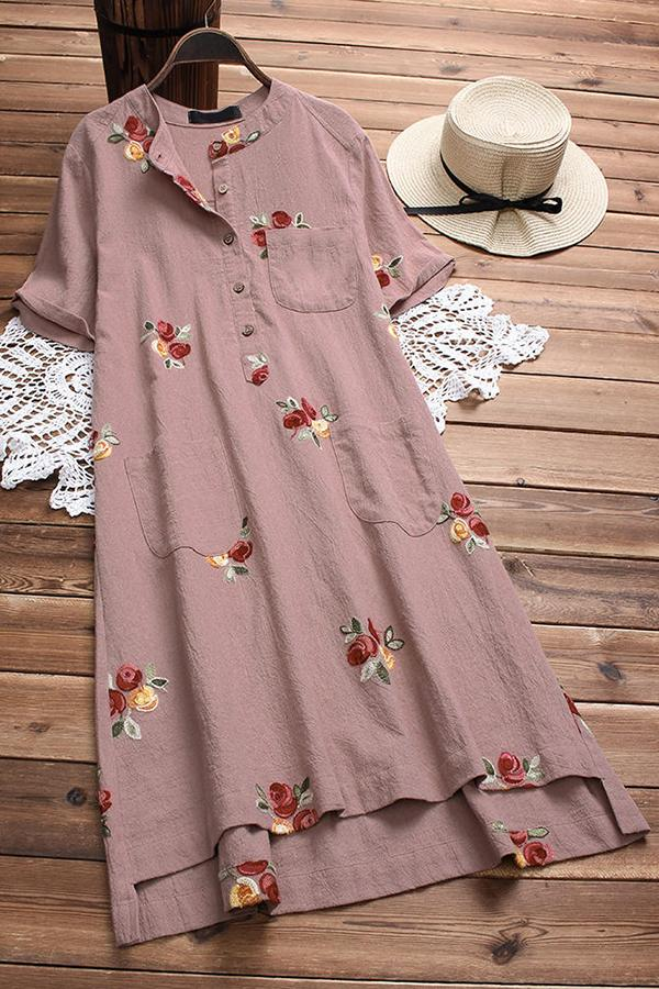 Floral Printed Buttoned Pockets Midi Dress