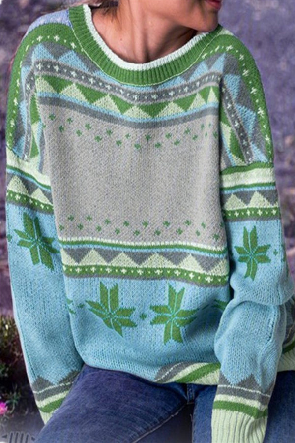 Geometric Jacquard Paneled Knitted Holiday Ribbed Sweater