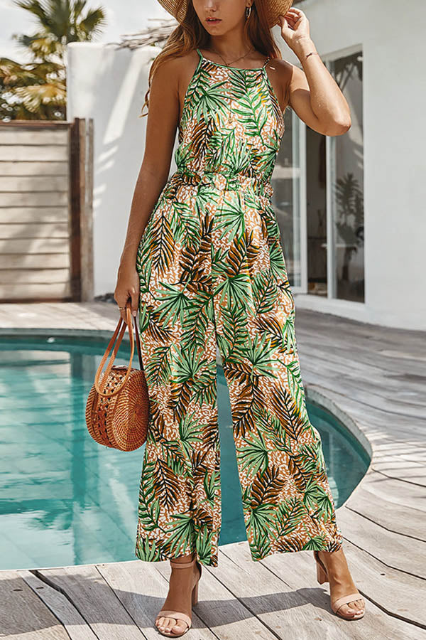 Bohemian Leaf Print Halter Neck Tie Holiday Wide Leg Jumpsuit