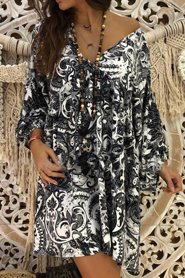 Bohemian Print Paneled V-neck Holiday Mini Dress