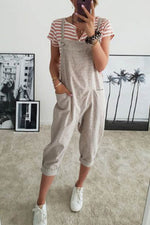 Casual Solid Paneled Side Pockets Sling Sleeveless Jumpsuit