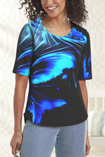 Casual Abstract Gradient Print Paneled Short Sleeves T-shirt