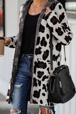 Color-block Leopard Jacquard Knitted Holiday Hooded Coat