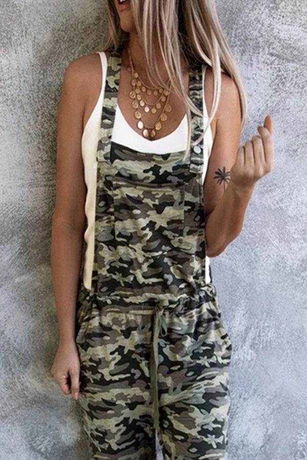 Camouflage Print Paneled Side Pockets Casual Jumpsuit