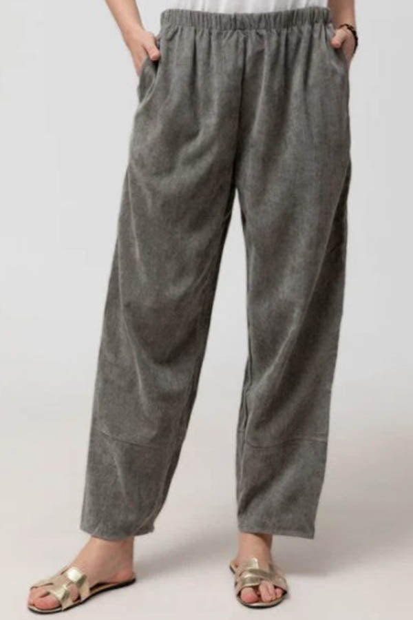 Solid Paneled Elastic Side Pockets Casual Pants