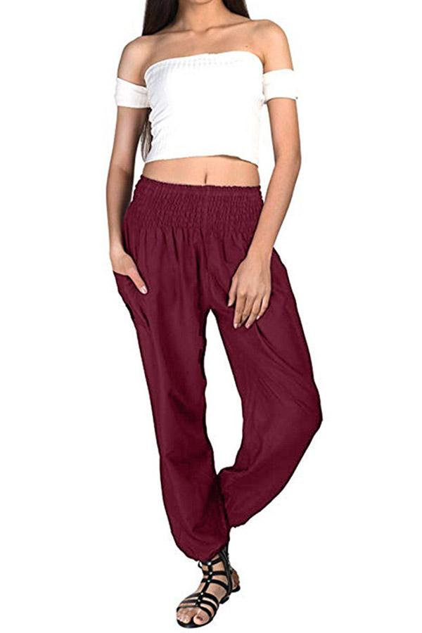 Solid Loose Harem High Waist Pants