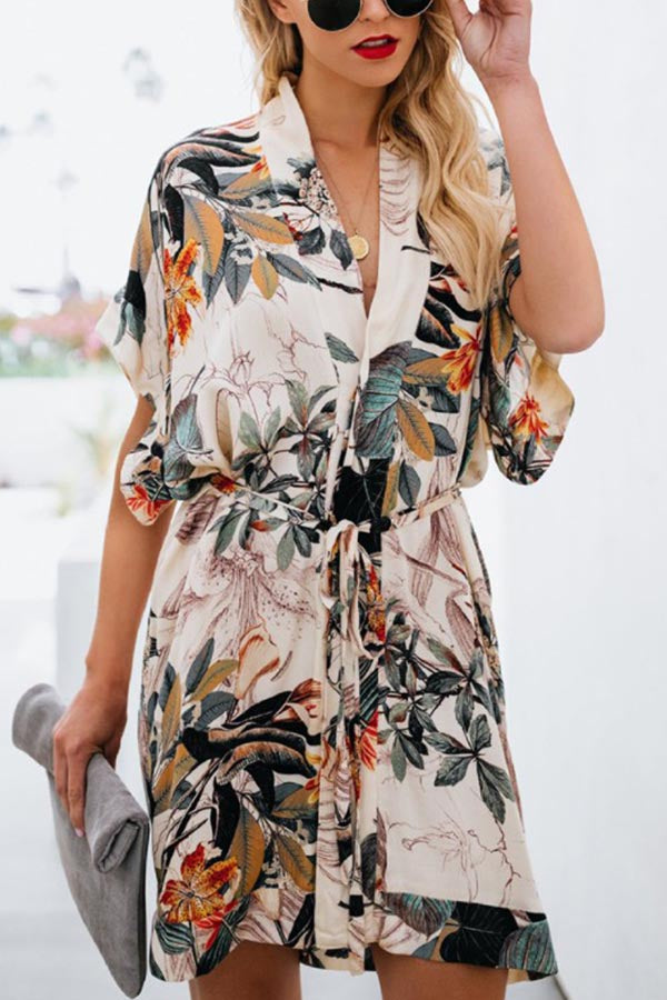 Bohemian Leaf Print Paneled V-neck Self-tie Mini Dress