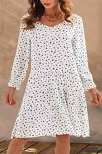 Hand Painting Heart Print Elegant V-neck Frill Hem Midi Dress