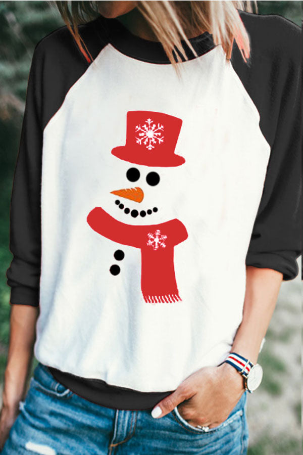 Color-block Christmas Snowman With Snowflake Hat Print T-shirt