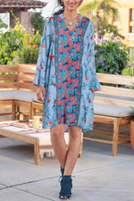 Paneled V-neck Vintage Floral Print Bell Sleeves Mini Dress