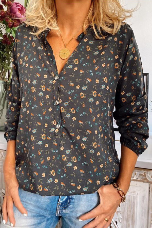 Vintage Print Buttons Down Long Sleeves Blouse