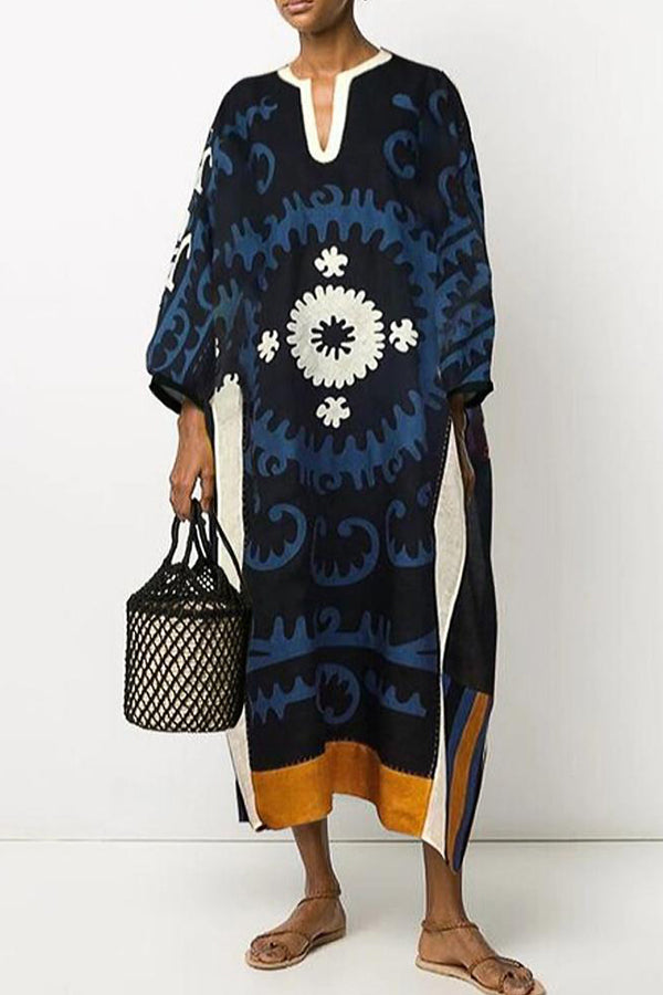 Vintage Graphic Print Plunging Neck Loose Midi Dress