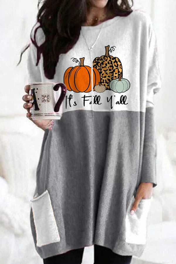 Happy Halloween Pumpkin Smile Face Truck Print Color-block T-shirt