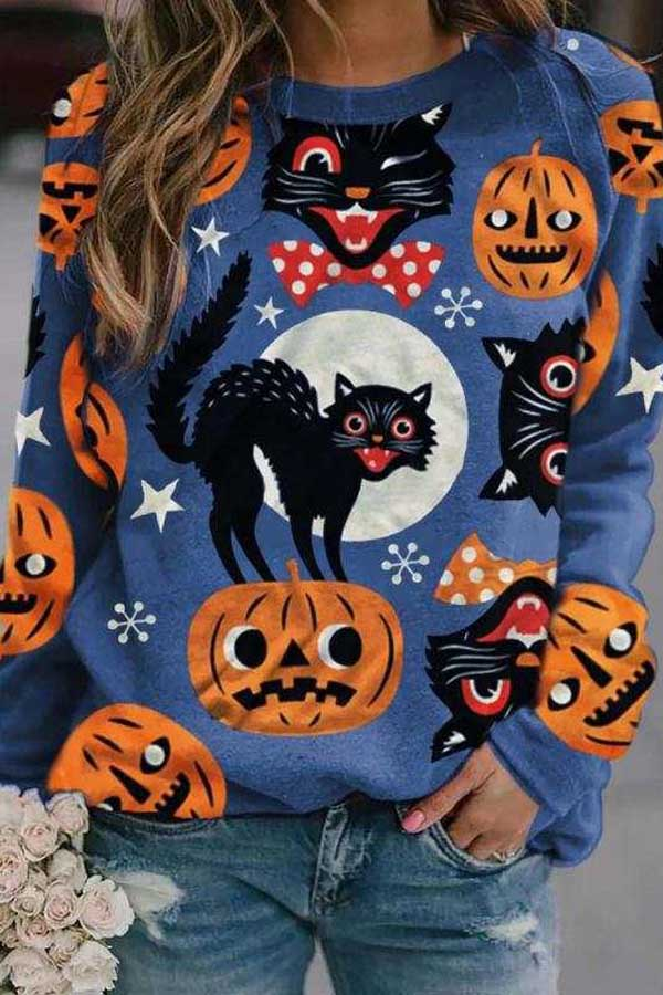 Halloween Cartoon Black Cat Pumpkin Moon Print Sweatshirt