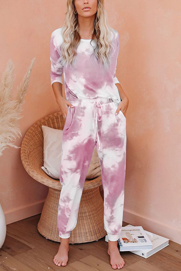 Gradient T-shirt With Foot-binding Pants Two-pieces Set