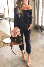 One Shoulder Solid Casual Pockets Foot-binding Jumpsuit