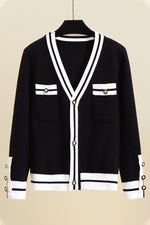 Knitted Color-block Striped Jacquard Ribbed Buttons Down Cardigan