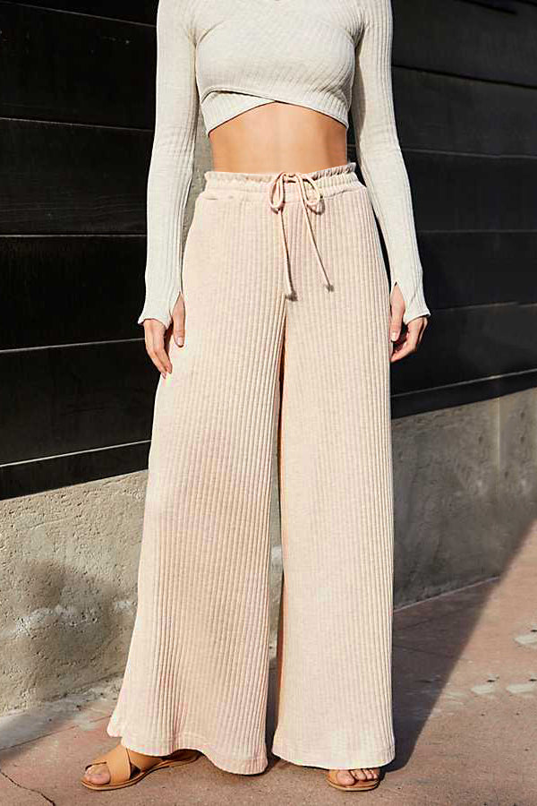Solid High Waist Loose Casual Pants