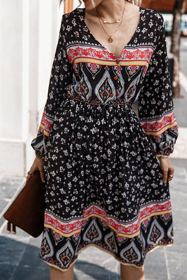 Bohemian Floral Graphic Print Paneled V-neck Pleated A-line Midi Dress