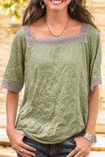 Paneled Lace Hollow Out Solid Square Neck Casual Blouse