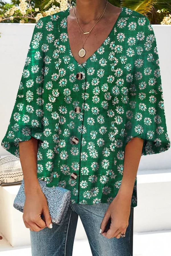Floral Print V-neck Buttons Down Balloon Sleeves Vintage Blouse