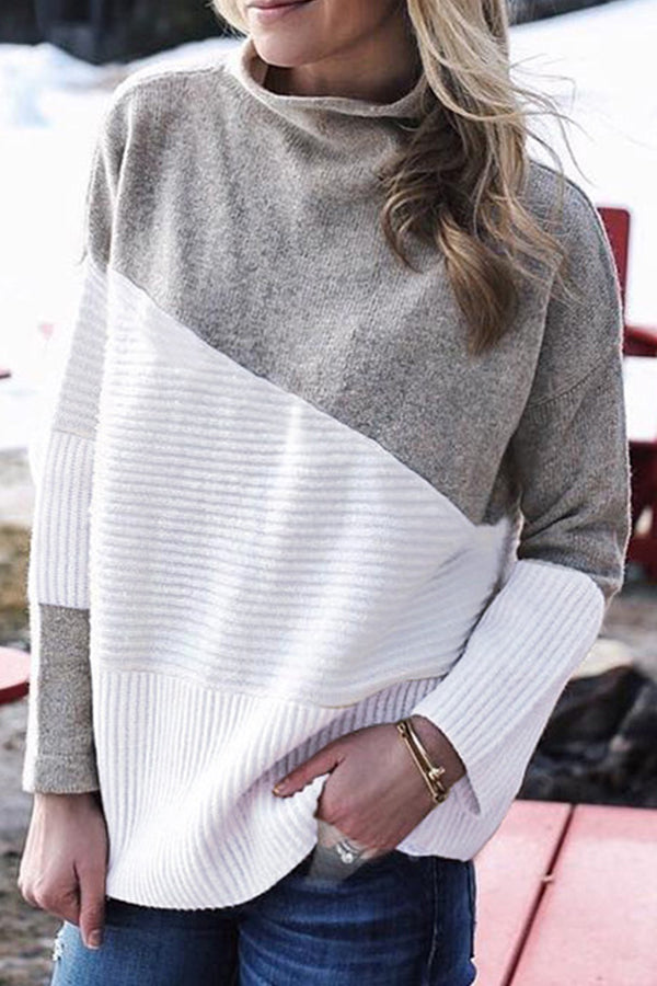 Casual Knitted Solid Color-block Stand Collar Ribbed Sweater