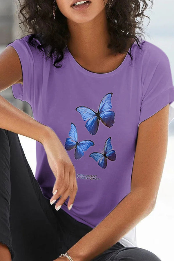 Casual Butterfly Print Short Sleeves Paneled T-shirt