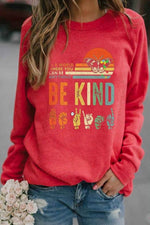 Casual Graphic Print Paneled Long Sleeves Sweatshirt