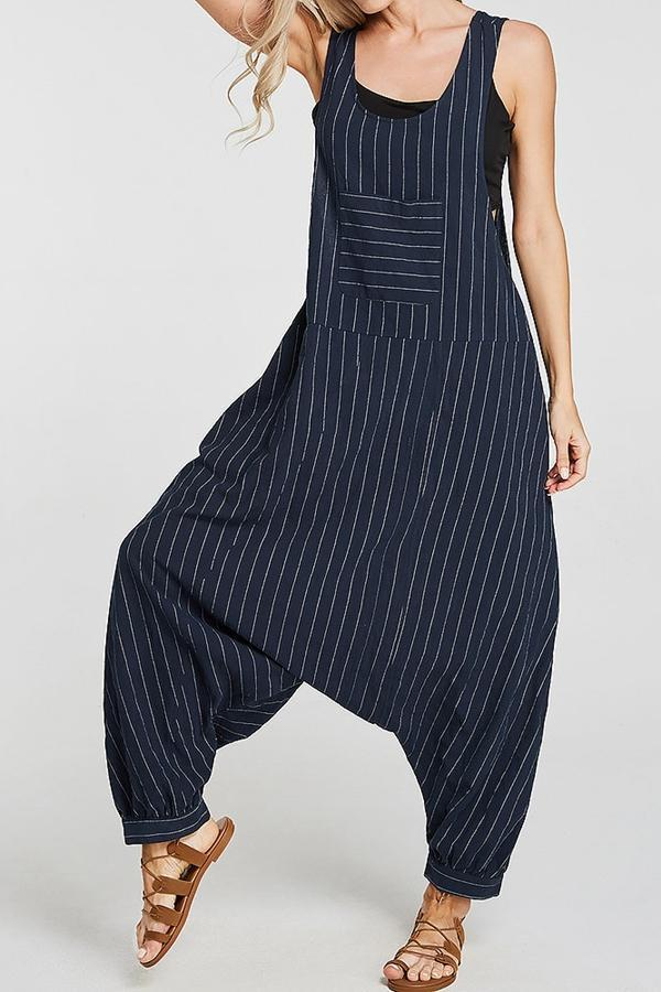 Pocket Stripe Casual Haren Jumpsuits