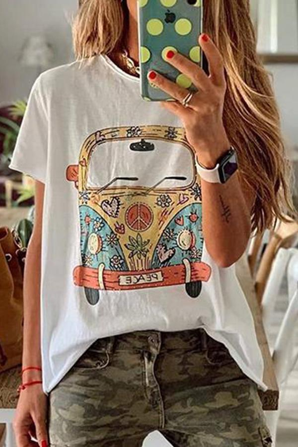 Casual Bus Print Crew Neck T-shirts