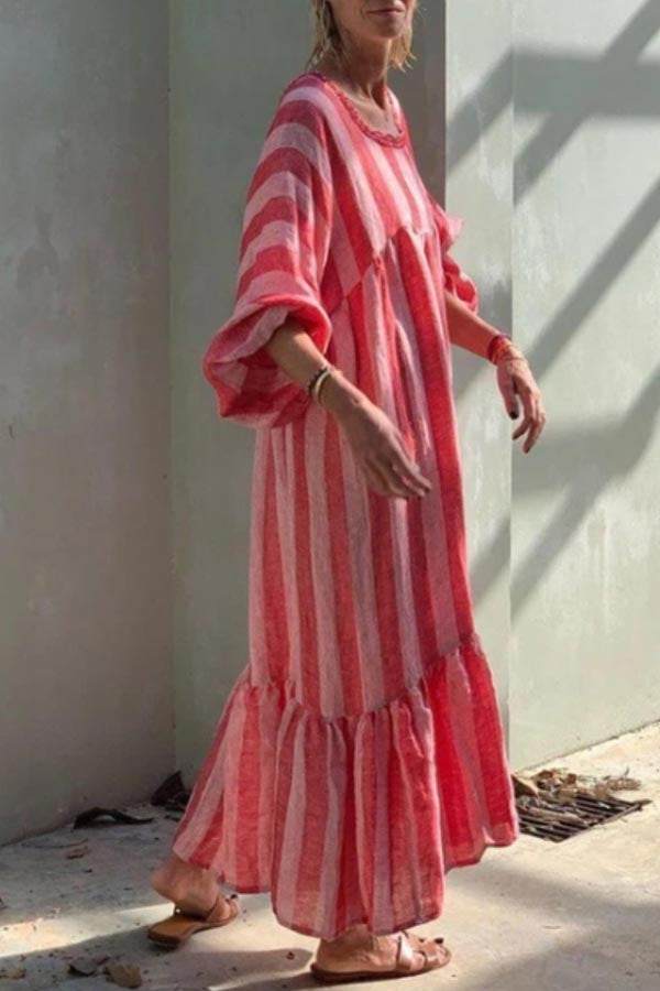 Bohemian Striped Print Paneled Balloon Sleeves Maxi Dress
