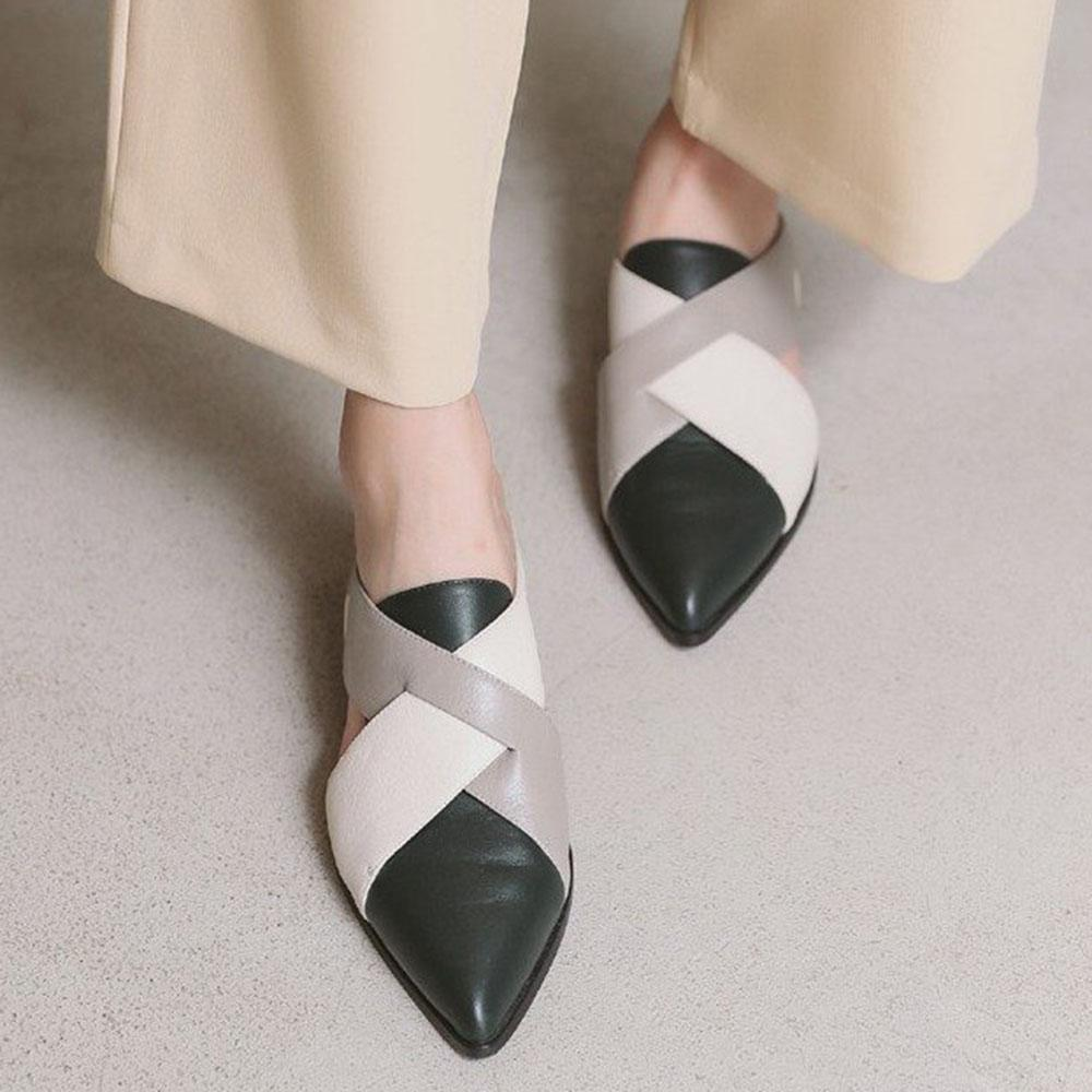 Casual Pointed Toe Colorblock Flats