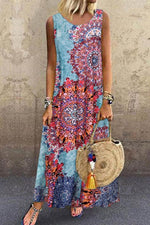 Bohemian Graphic Print Sleeveless Holiday Maxi Dress