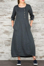 Buttoned Front Side Pockets 3/4 Sleeves Maxi Dress