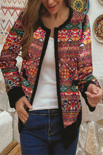 Bohemian Outerwear Geometric Jacquard Fuzzy Trim Paneled Cropped Coat
