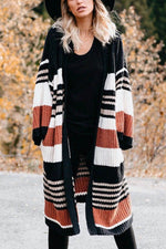 Color-block Striped Jacquard Knitted Ribbed Pockets Holiday Cardigan