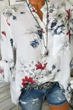 Floral Print Buttoned V-neck Casual Blouses