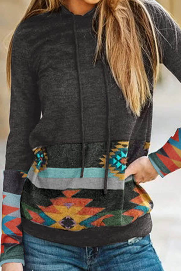 AZTEC Leopard Print Color-block Paneled Pocket Holiday Hoodie