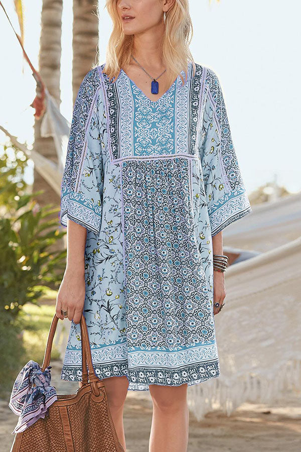Bohemian Floral Print V-neck 3/4 Sleeves Holiday Midi Dress