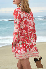 Holiday Floral Print Paneled V-neck 3/4 Sleeves Slit Blouse