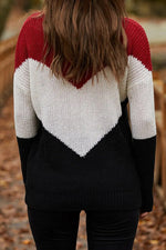 Color-block Striped Knitted V-neck Ribbed Holiday Sweater
