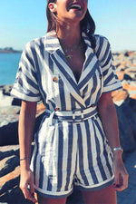 Holiday Striped Print Buttoned Lapel Collar Romper