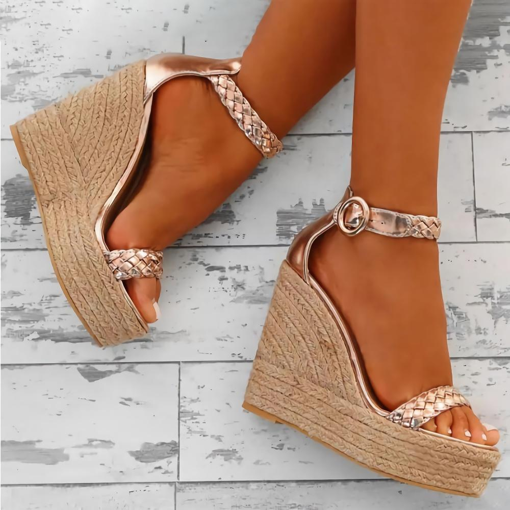 Buckle High Heel Wedge Heel Casual Sandals