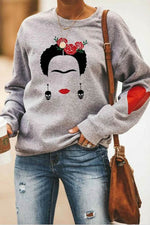 Abstract Frida Kahlo Skull Decoration Rose Headwear Print Casual Sweatshirt