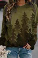Gradient Landscape Forest Print Green Tree Sweatshirt